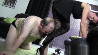 Image: Satin panties nylon cock foot worship and wank with hot Milf