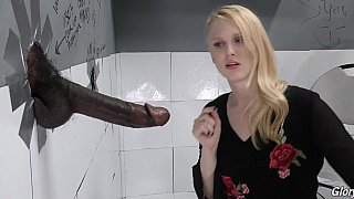 Glory hole for a blondie #2. Giant black cock image