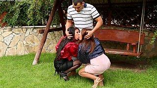 CFNM threesome on a backyard image