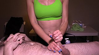 Image: Busty masseuse is giving a handjob