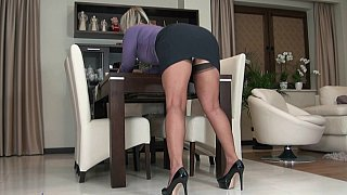 Mature blonde teasing with her_upskirt image