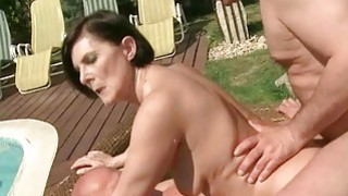Granny fucking two cocks_at once outdoor image