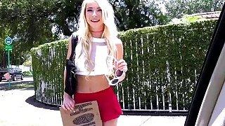 Blonde teen Kenzie Reeves having sex in a strangers car image