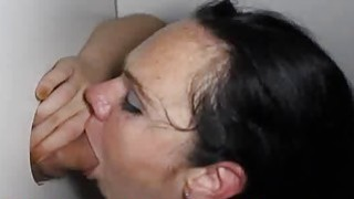Short Freckle Skank Sucking Dick in Glory Hole image