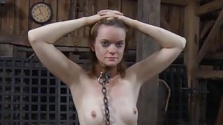 Image: Gagged beauty with clamped nipps acquires wild joy