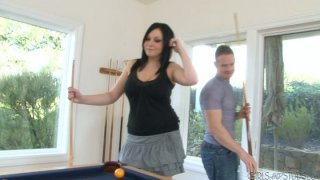 Hungry for cock Lexy Mae plays pool with Shane Reno and sucks his dick deepthroat image