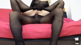 Pretty blonde Gemma nylon hose sexual intercourse image