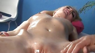 Hot blonde gets pussy fucked in massage fucking image