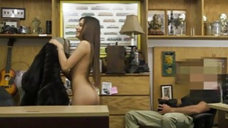 Image: Hot brunette babe nailed by pawn keeper in his office