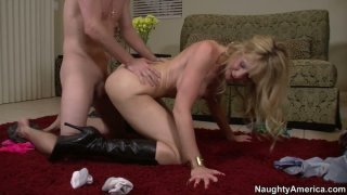 Image: Sexy cougar Desiree Dalton in high heel boots fucks doggy style