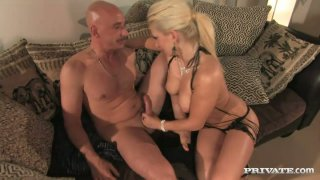 Luscious blonde bitch Leah Lush gives a head and jumps on a hard stem intensively image