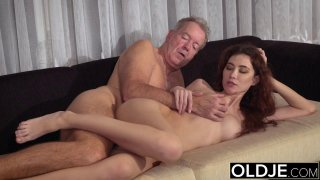 Old Young Porn Natural Teen_Takes Grandpa cock image
