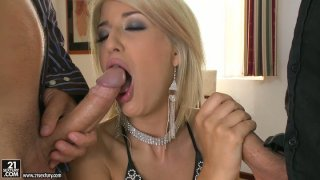 Lascivious blonde Blanche has awesome threesome with two white guys image