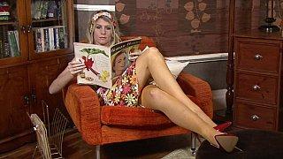 White skinny milf posing in vintage lingerie image