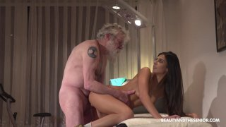 Cute brunette chick Angela has passionate sex with old man image