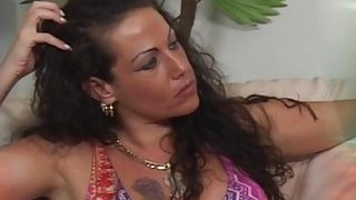 Extraordinary brunette MILF gives deep blowjob and gets her pussy drilled image