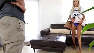 Blonde babe Naomi fucking with her room mate in the living rooom image