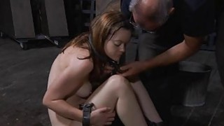 Tied up beauty receives pleasuring for her vagina image