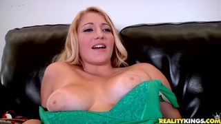 Precious blonde babe with tight big boobs showing cunt rubbing! image