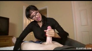 His HOT Step Mom is PISSED! Punishes him with Hand image