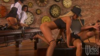 Sexy gangster lesbians Tory Lane, Alektra Blue, Mikayla Mendez and Tanya James_play with pussies image