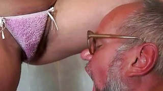 Grandpa and naughty hairy bitch pissing and fuckin image