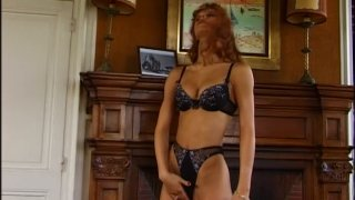 Red head slut Monica Rossi blows two cock and rides one actively image