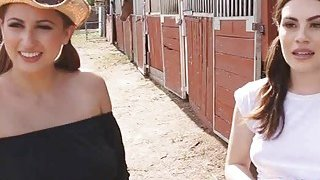 Cowgirl threesome at_the ranch image
