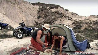 Camping ended up with threesome with nasty brunette Claudia Rossi image