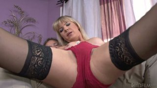 Professional shemale seductress Lora Hoffman performs a hot private dance and gives deepthroat blowjob image