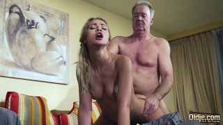 Old Man Dominated sexy hot babe old young femdom image