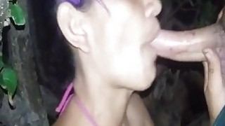Awesome blowjob in_nature by masked amateur wife image