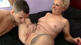 Blonde mature whore Mrs Jewell gives awesome blowjob image