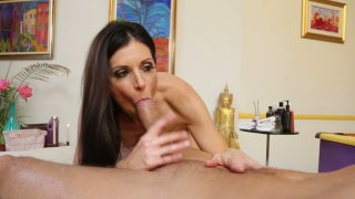 Horny slut India Summer gives a sensual massage and sucks the cock deepthroat image
