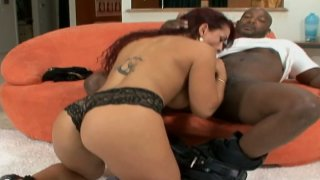 Curvy redhead latina MILF Tiffany Torres takes BBC up her tiny asshole image