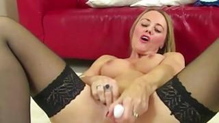 Stunning mature lady masturbates in_stockings image