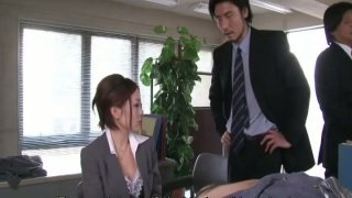 Short haired chick Iroha Kawashima gives blowjobs to her colleagues image