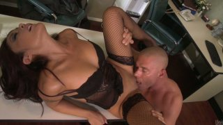 Sluttish secretary Kaylani Lei gives a head and gets_her tight pussy licked_in the office image