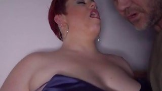 Dark room sex action with fat horny Milf Amor image