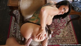 Romi Rain sucking a big dick hard and having her pussy fucked image