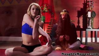 bendy yoga student facizlized by her guru image