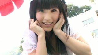 Brunette teen_Yuri Hamada plays a horny waitress in sexy dress image
