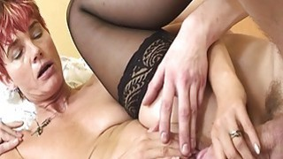 Lovely Granny Maid In Sexy Stockings Anal Fucked image