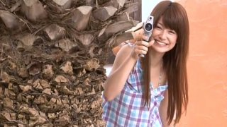 Gorgeous babe Airi Nakajima filming her first adult video image