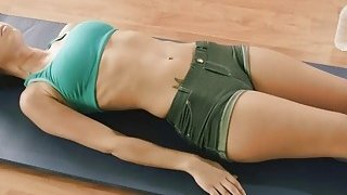 Yoga exercise with brunette gals by_busty yoga trainer image