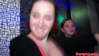 Party babe blows two strippers at party image