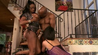 Buxom chicks Roxanne Hall & Jada_Fire_ride a stiff black cock image