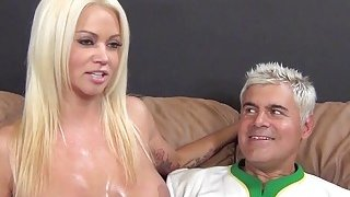 Huge boobed Nikita Von James gets cum_on tits after BJ and titjob image