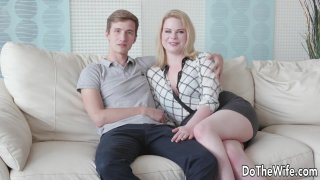 Blond Wife Adry Berty Fucks a Stud in Front of Her Loser Husband image