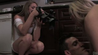 Image: Madison Fox fucks and strokes her boyfriend_in the kitchen and makes him cum